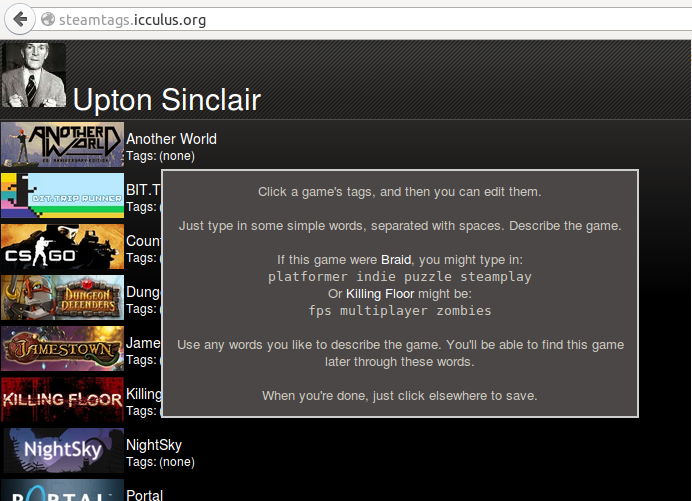 SteamTags screenshot